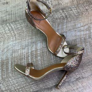 14th & Union Anika Glitter/Gold Strappy Heels